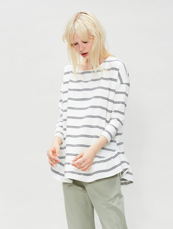 R-Collection Striped Ruffle Shirt