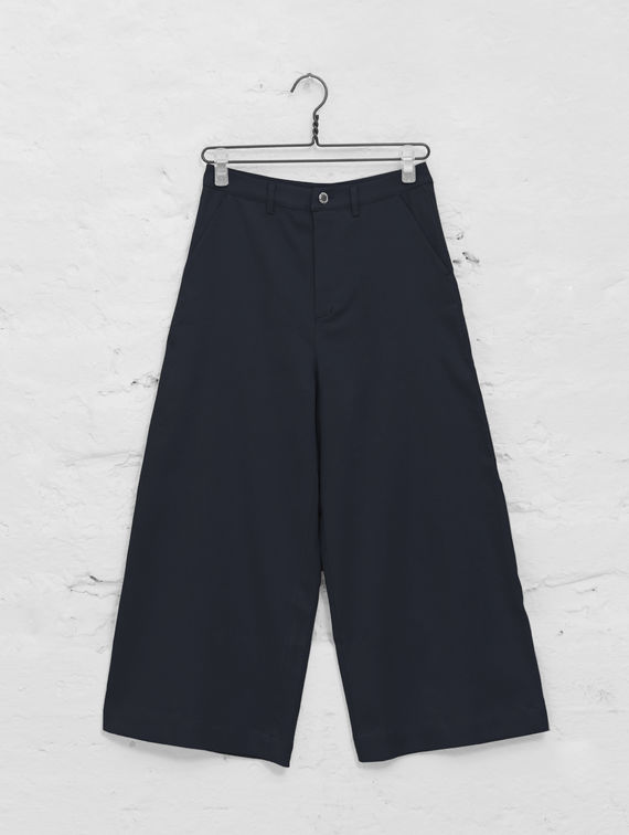R-Collection Linen Culottes dark blue