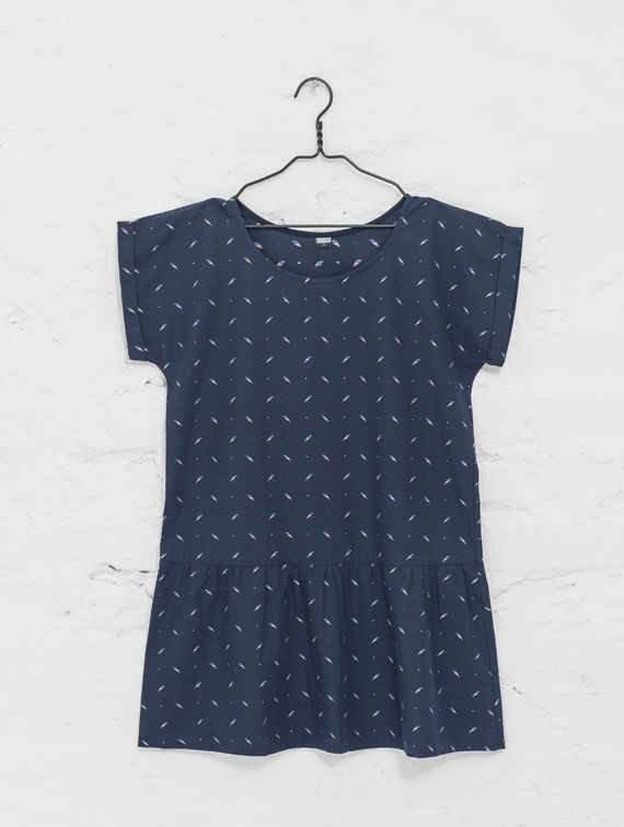 R-Collection Leila Dress blue bird print